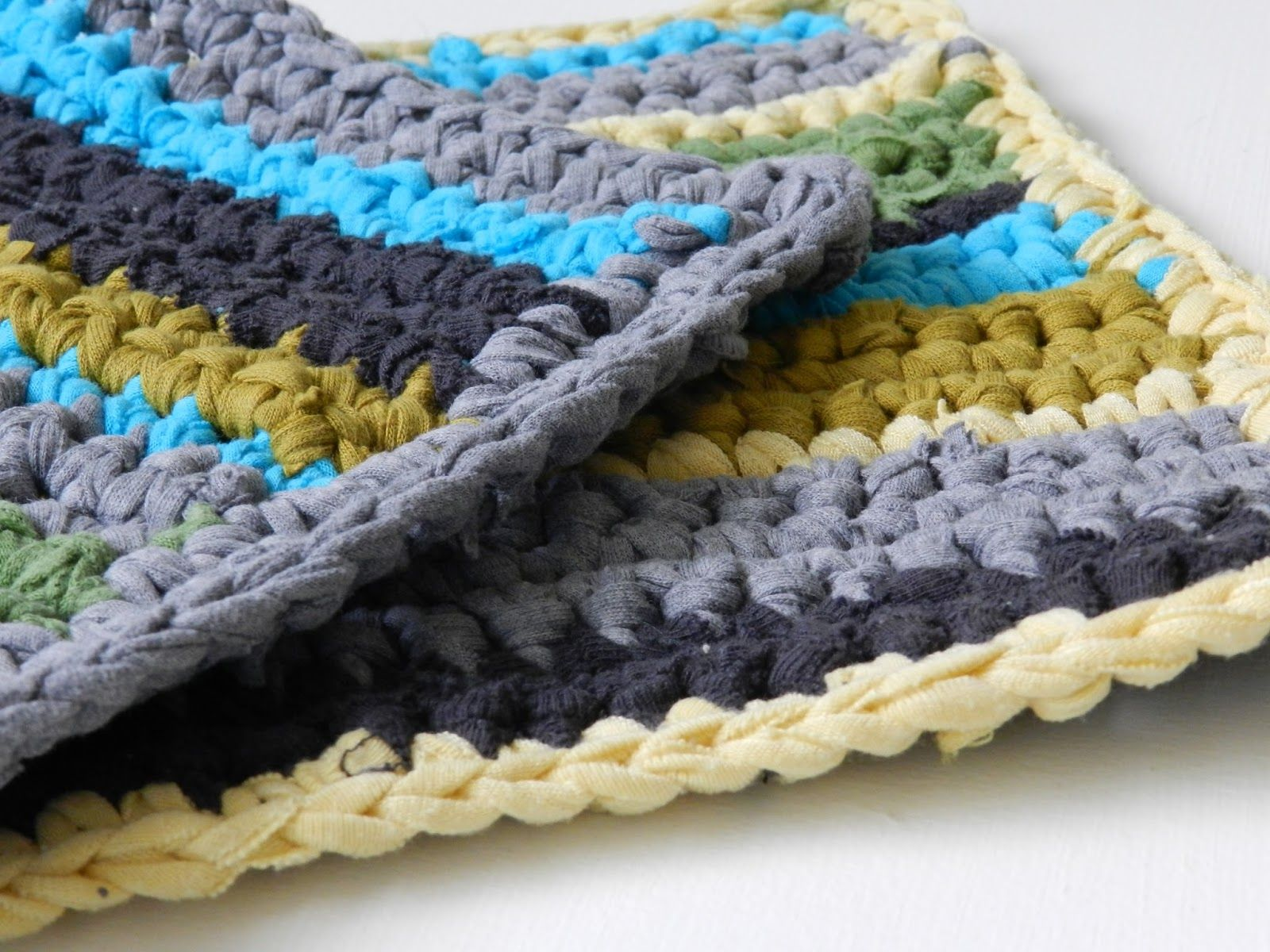 Free Crochet Pattern: Striped T-Shirt Yarn Hot Pads | T-shirt yarn ...