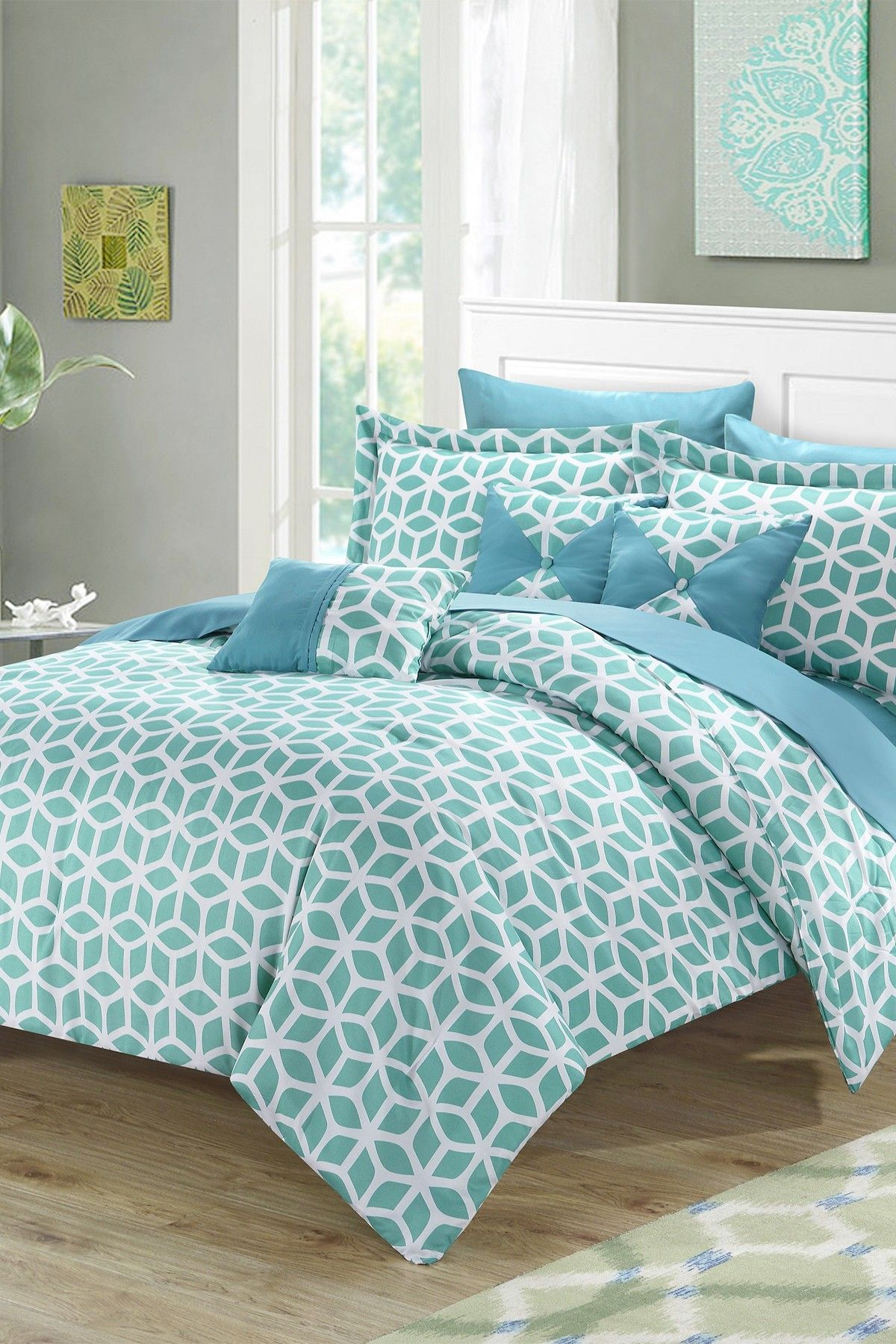Gianna Bed In A Bag Comforter Set  Green