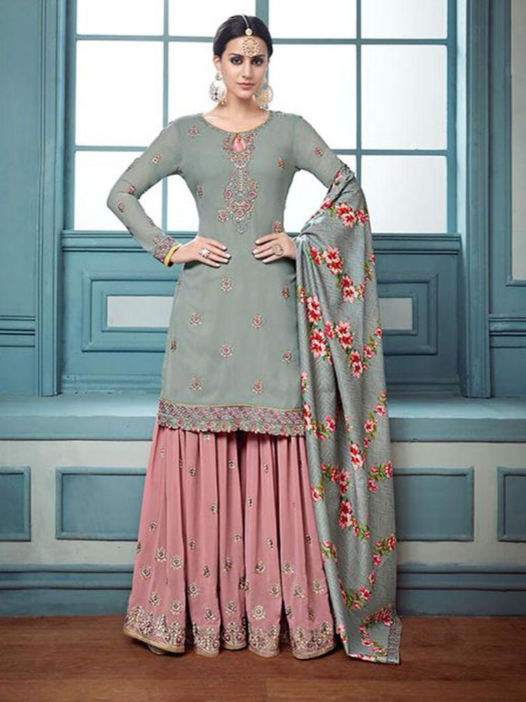 37a8292b21 #party wear #Gray Color #indian #women's #sarara #Designer #unstitch #plazo  #kameez #Handmade #Indian