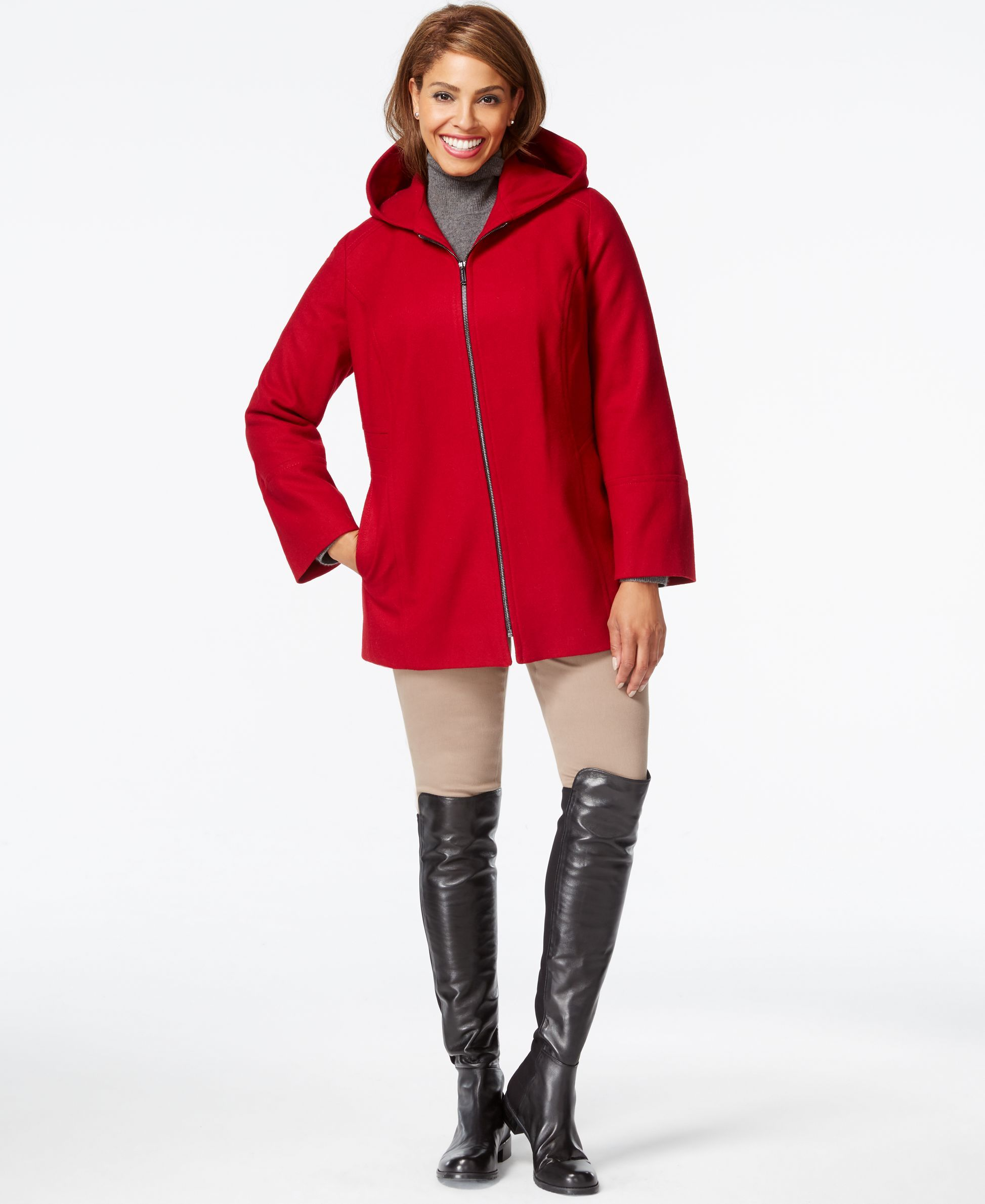 London Fog Plus Size Hooded Zipper-Front Coat