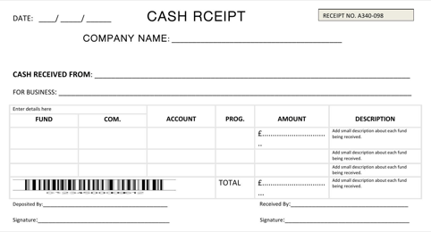 Fillable Cash Receipt Template Word Doc For Trip