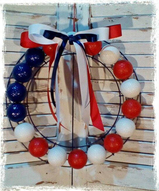 Golf Ball Wreath Patriotic. Super Glued And Hot Glued Balls To Painted Wireu2026