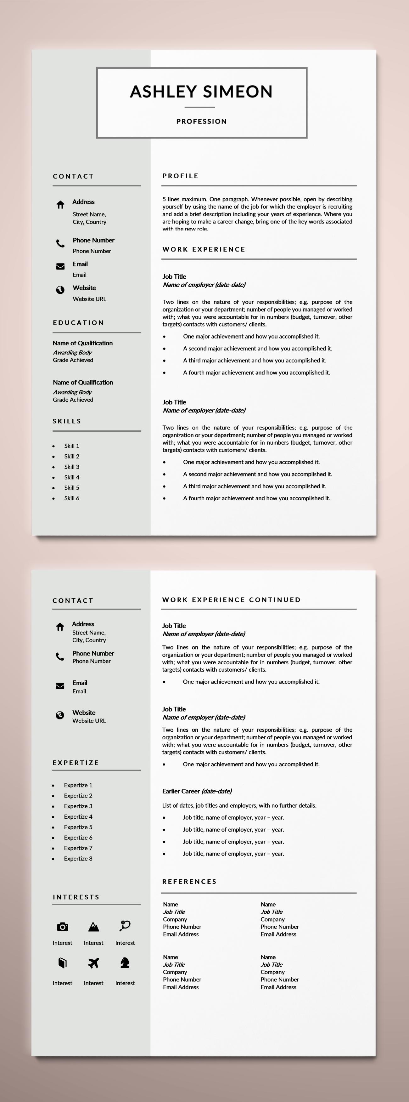 2 Page Resume Template, CV Template, Curriculum Vitae