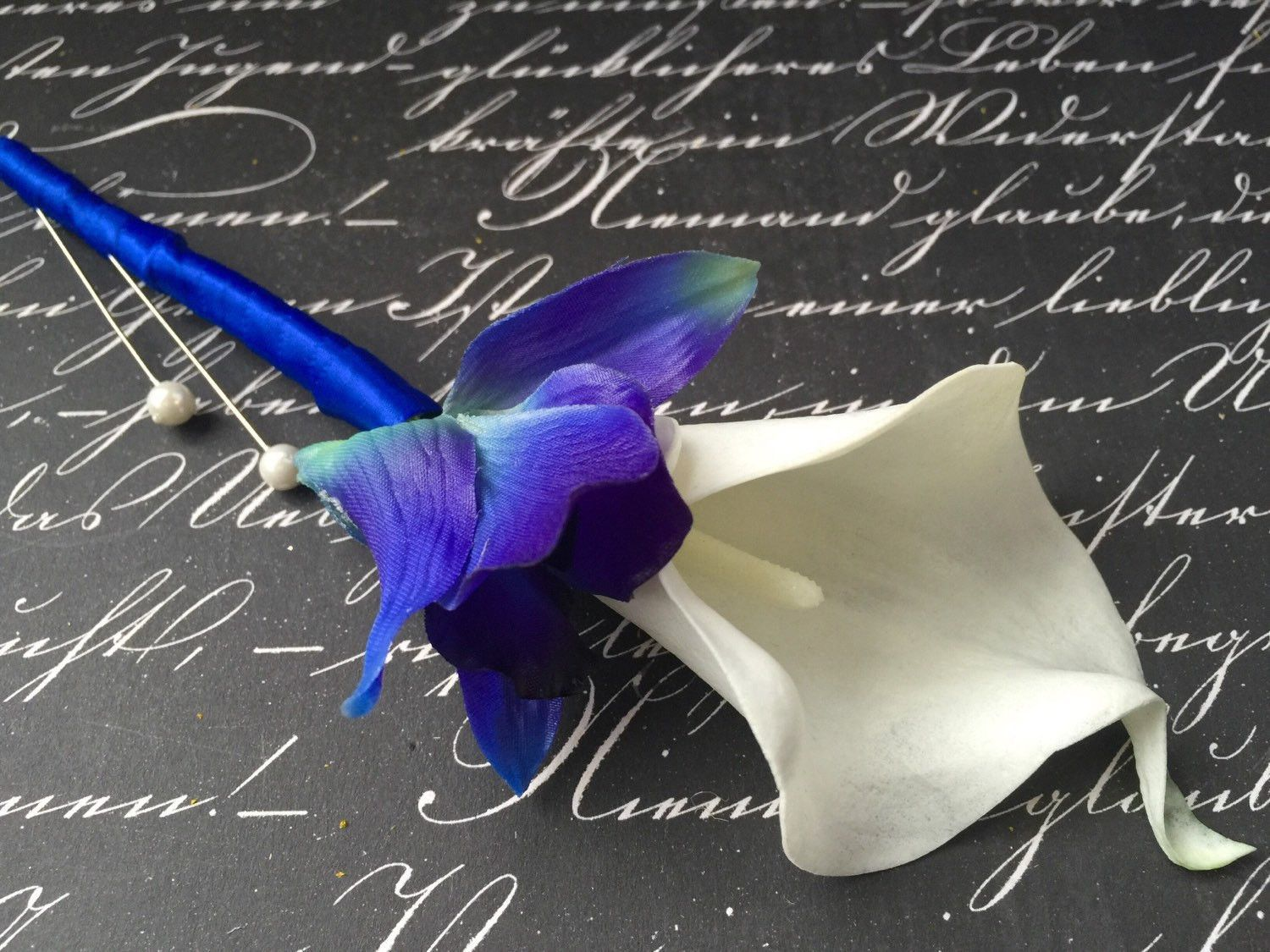Blue White Boutonniere Real Touch Sonia Blue Orchid