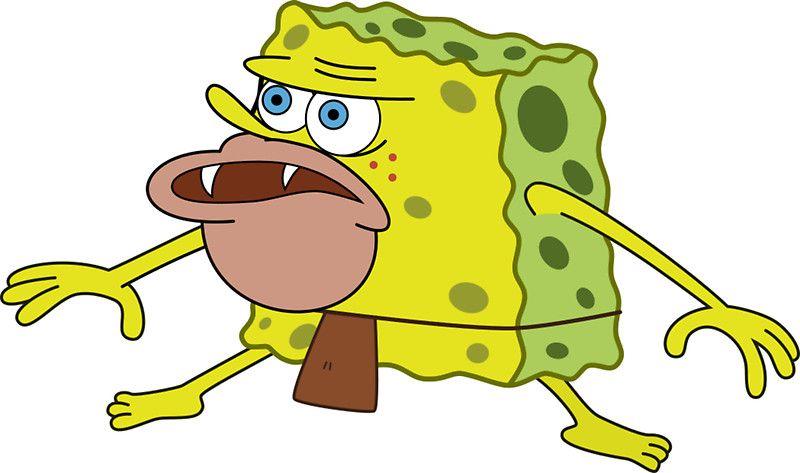 Caveman Spongebob Sticker By Kingofmemes Spongebob Character Illustration Cartoon Pics