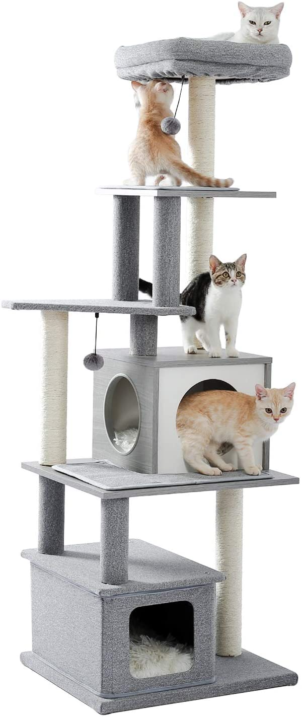Amazon Com Made4pets 61 8 Modern Cat Tree Tall Cat Tower With Scratching Posts 2 Condos And Top Perch Grey Pet Sup Modern Cat Tree Cat Tree Diy Cat Toys