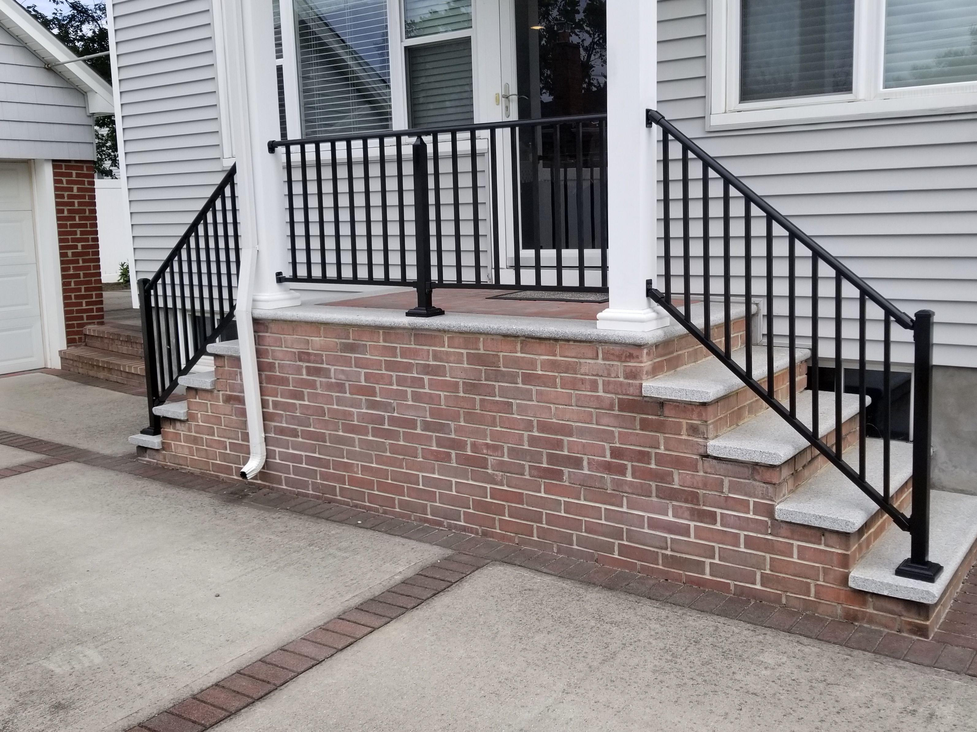 Aluminum Handrails On Concrete Steps Aluminum Fence Concrete | Aluminum Railings For Steps | Verandah | Glass Railing | Pipe | Indoor | Glass Panel Wooden Handrail