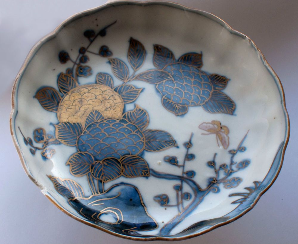Rare chinese porcelain blue gold enameled dish 18th century chinese kangxi porcelain blue gold enameled dish 18th century kangxi period with iconic marking reviewsmspy