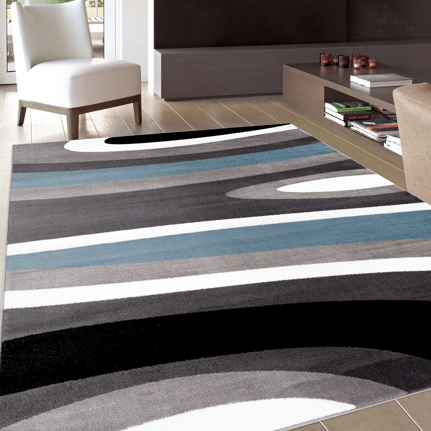 "AmazonSmile Abstract Contemporary Modern Blue Area Rug 5 3"" X 7 3"