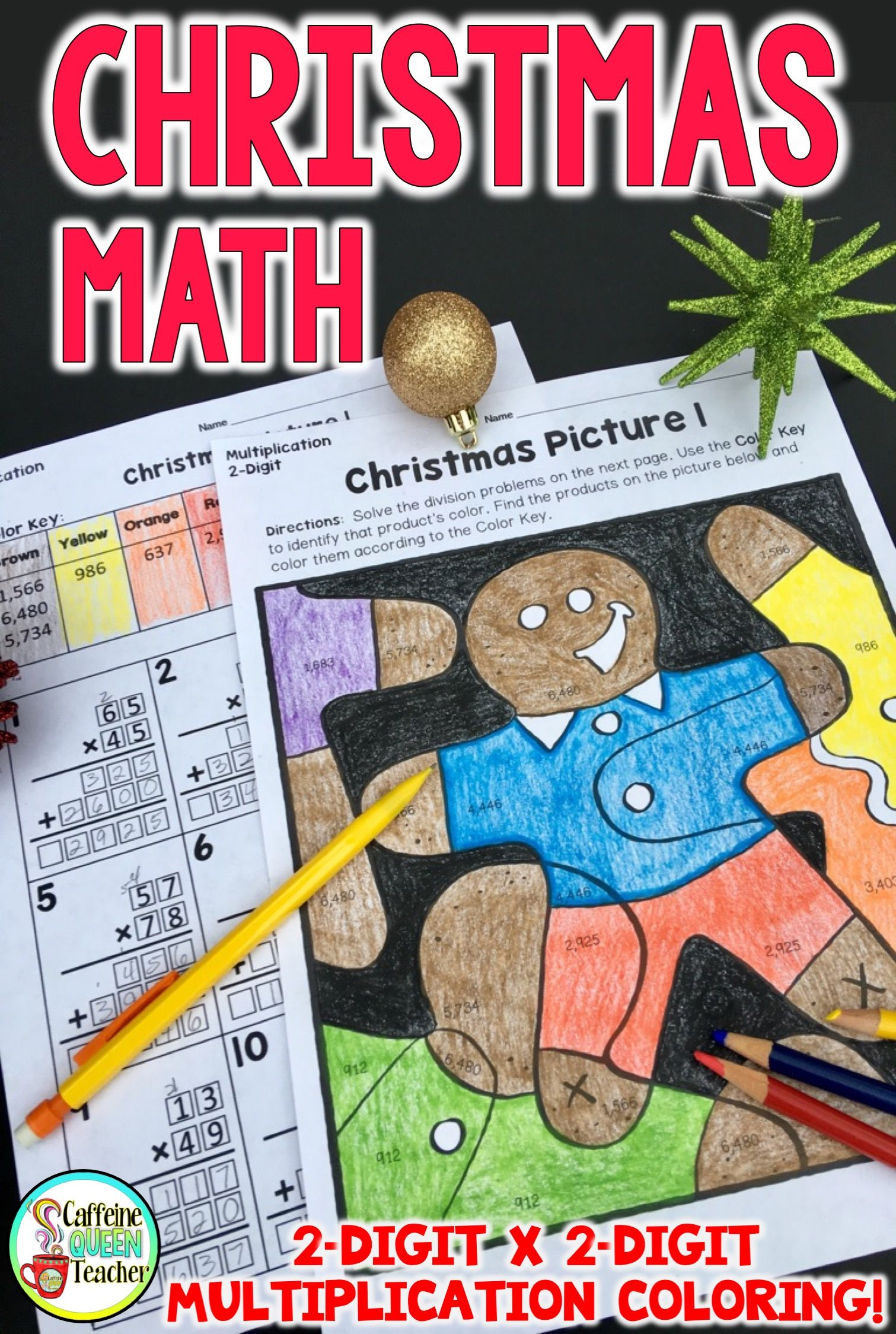 Differentiated 2 Digit Multiplication Christmas Coloring