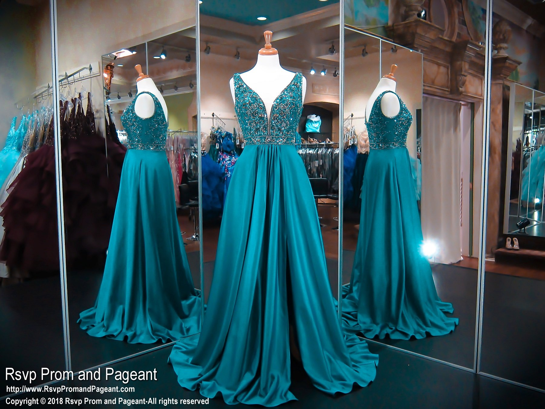 Teal V-Neck With Slit Ball Gown Prom Dress | Ball gown prom dresses ...