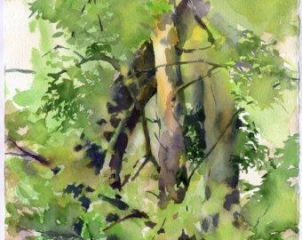 Druck der Waldaquarellmalerei, grüne Bäume – Malerei, Archivpapier