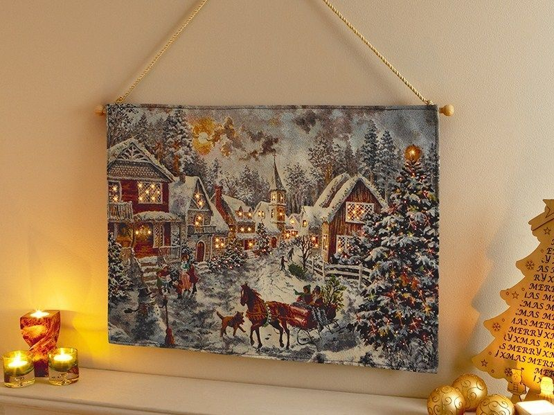 New Christmas Tapestry LED Lights 'Village Winter Scene' 70x50cm Batt-Operated…