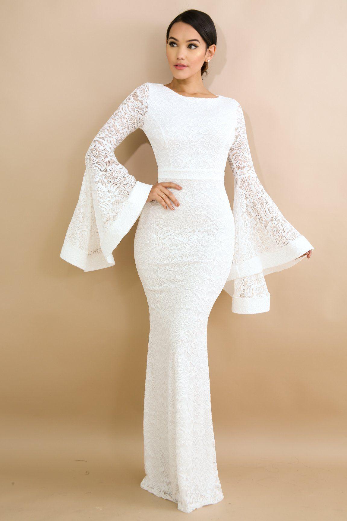 Maxi bell sleeves dress jurken pinterest stretch fabric