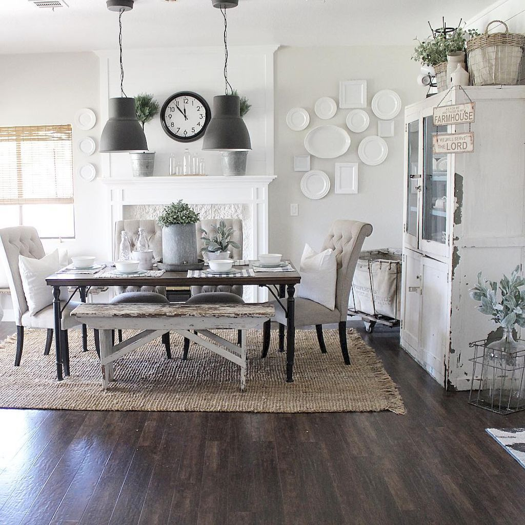 Cool 45 Modern Farmhouse Dining Room Decorating Ideas Https