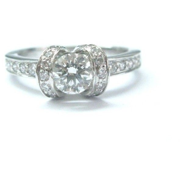 Preowned Tiffany Co Platinum Ribbon Diamond Engagement Ring