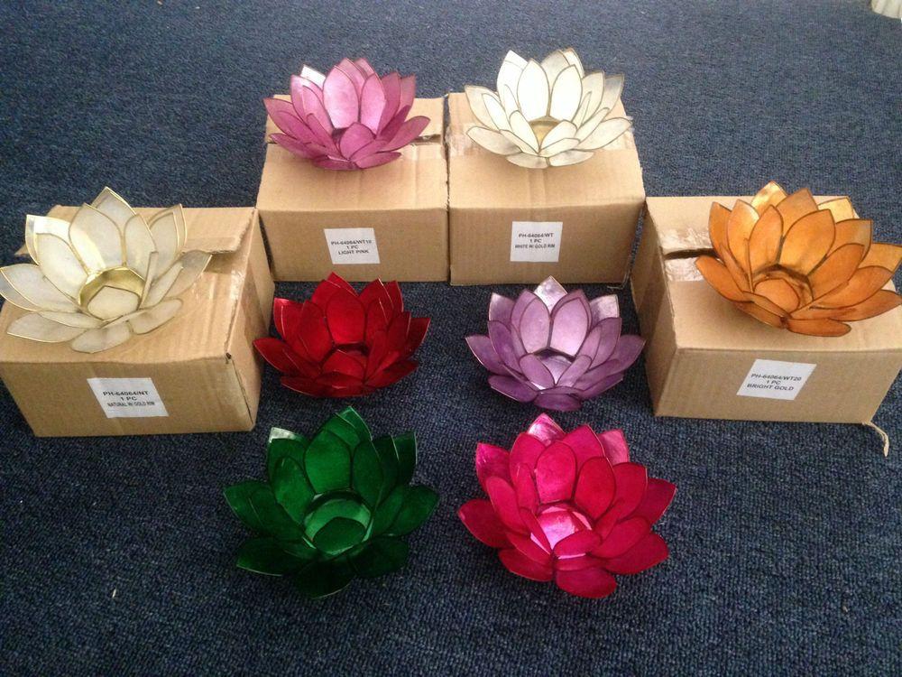 Beautiful capiz shell lotus flower tea light candle holder tealight wedding gift flower tea - Capiz shell tealight holder ...