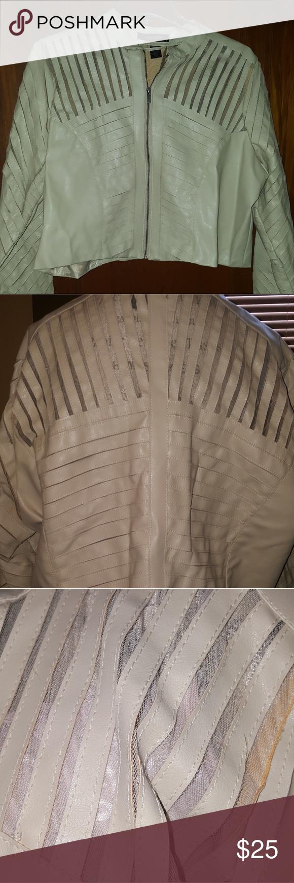 Faux Leather Mesh Crop Moto Jacket Cropped moto jacket