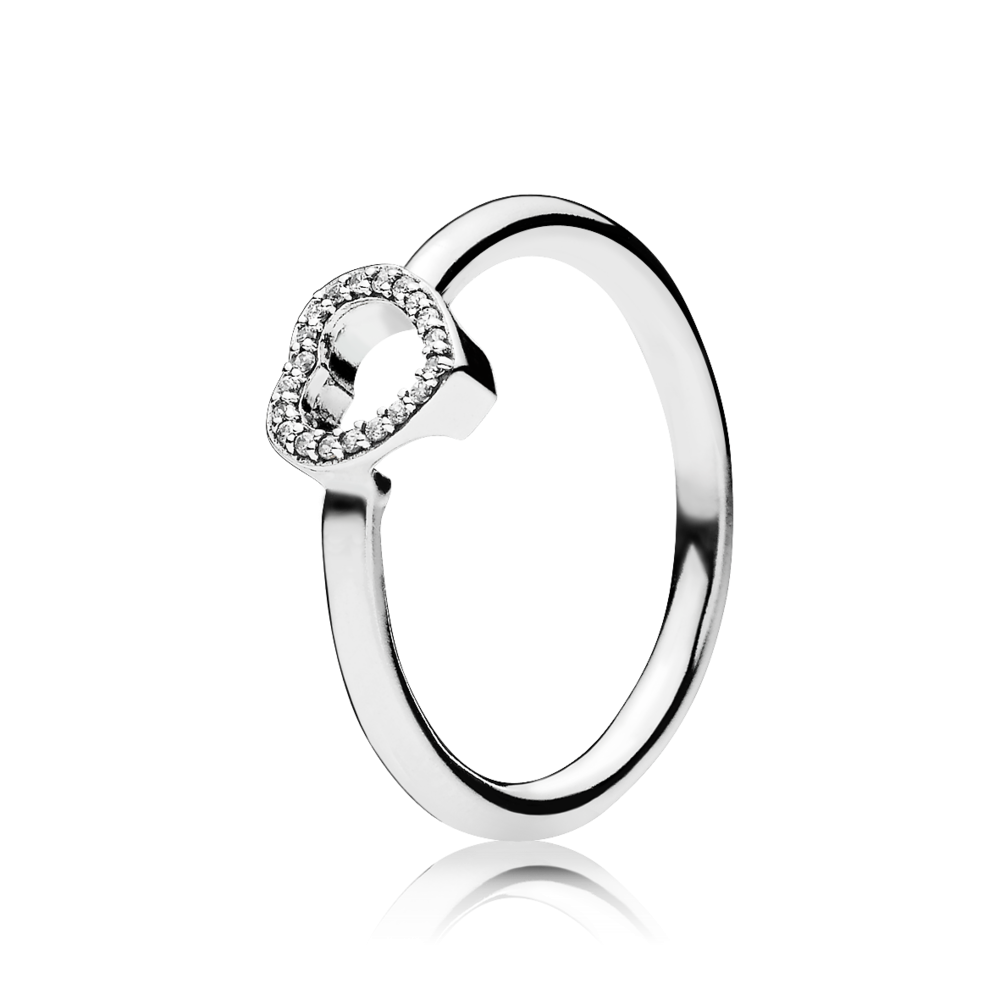 PANDORA | Puzzle Heart Frame Ring, Clear CZ | accessories | Pinterest