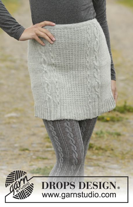 Knitted Drops Skirt With Cables And Texture Worked Top Down In