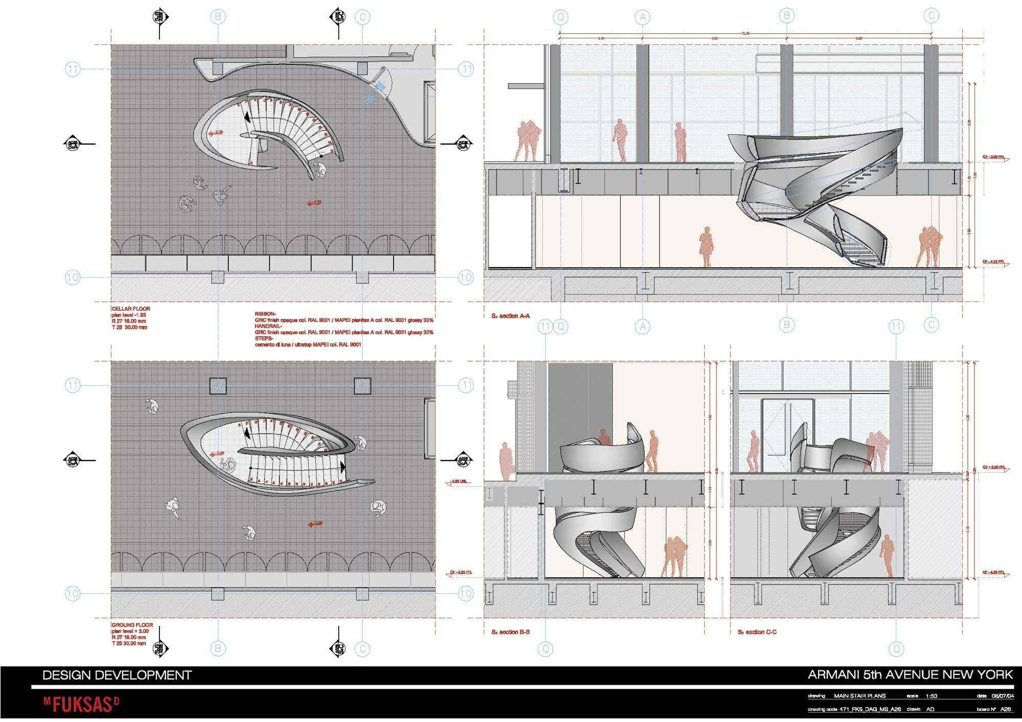 armani fifth ave massimiliano doriana fuksas stair. Black Bedroom Furniture Sets. Home Design Ideas