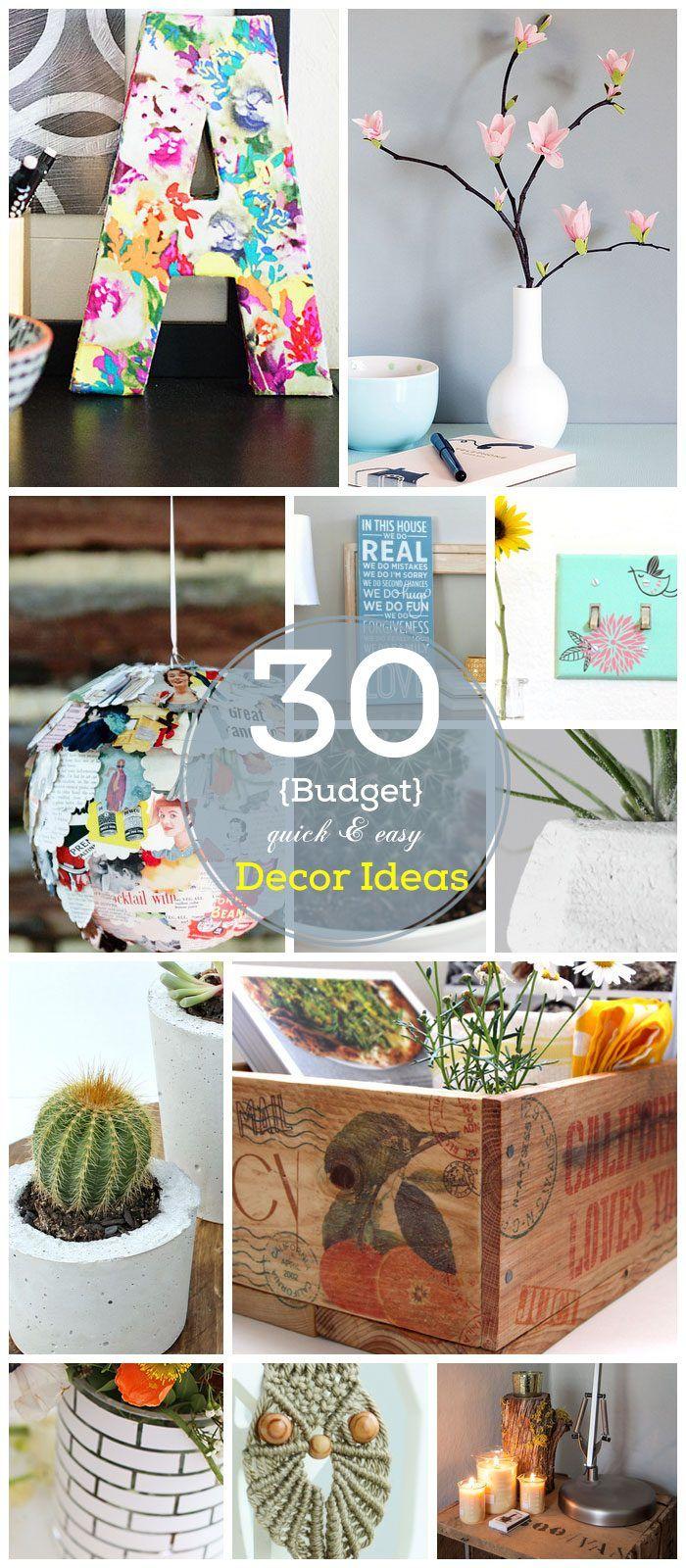 30 DIY Home Decor Ideas on a Budget | Click for Full Tutorials | Easy and Creative Decor Ideas & 50+ Super Easy Affordable DIY Home Decor Ideas and Projects ...