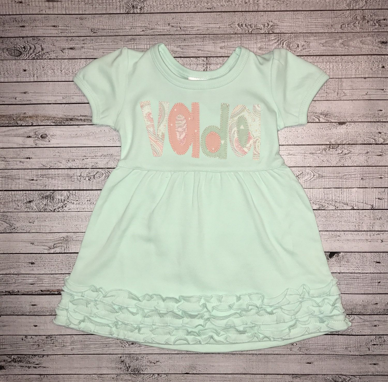 5469cdae6c6c Girl s Personalized Mint Ruffle Dress  Stitchy Font Applique ...