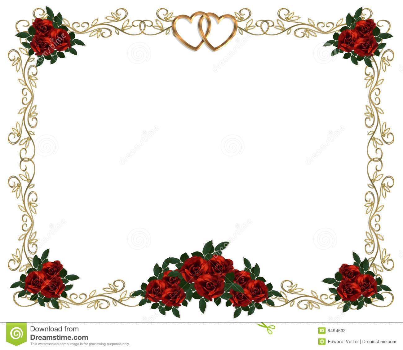 red roses border wedding invitation stock photos image