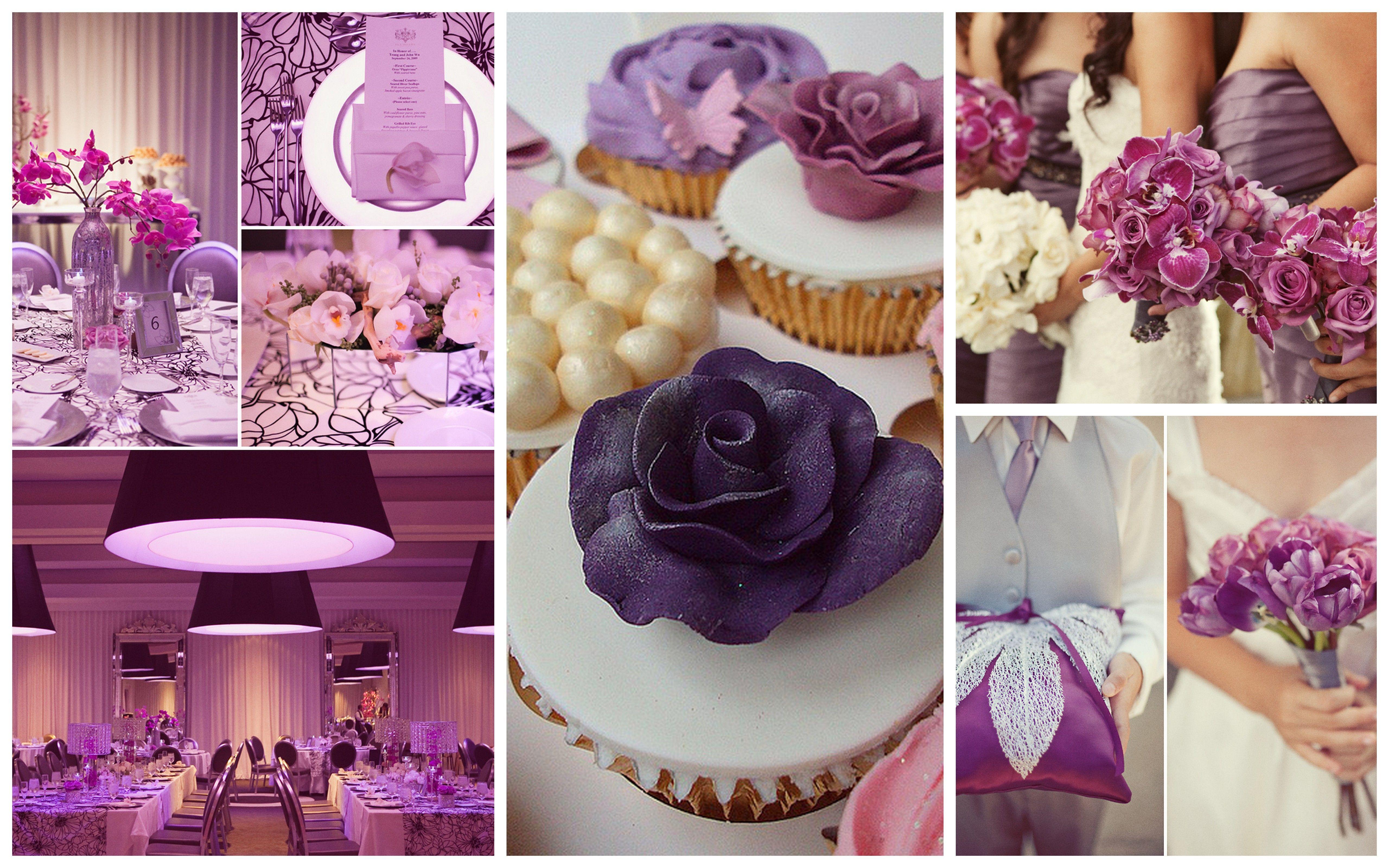 Purple Unique Collage Ideas Light Wedding Themes