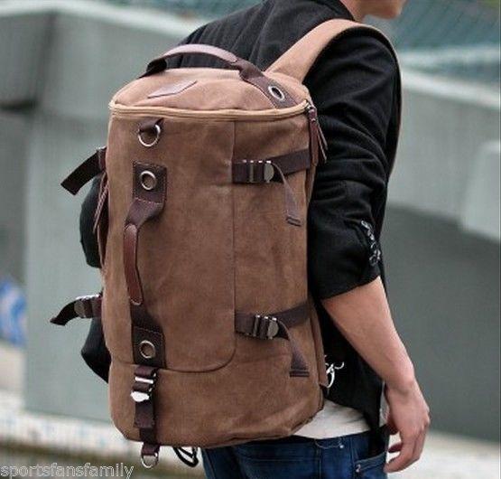Mens Canvas Backpack Rucksack Shoulder Travel Camping Book Bag Casual Satchel US