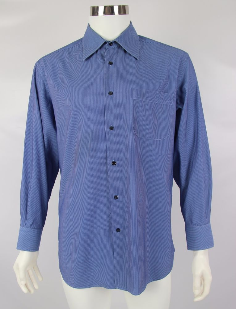 BOSS Hugo Boss Mens Size 16 32/33 Blue Striped Long Sleeve Button Front Shirt #HUGOBOSS