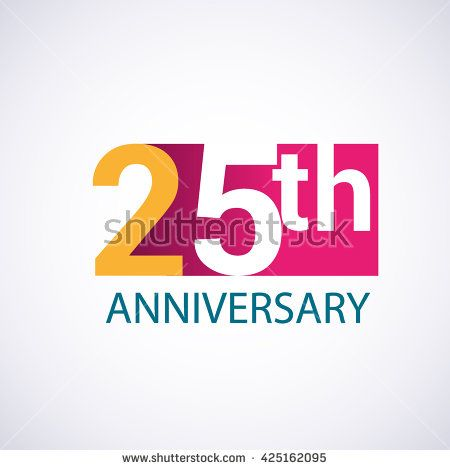 Template Logo 25th anniversary. 25 years anniversary red colored vector design - stock vector