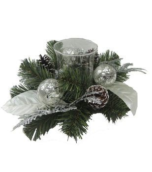 Blooming Holiday 14'' Leaves Cedar & Pine Candle Holder-Silver