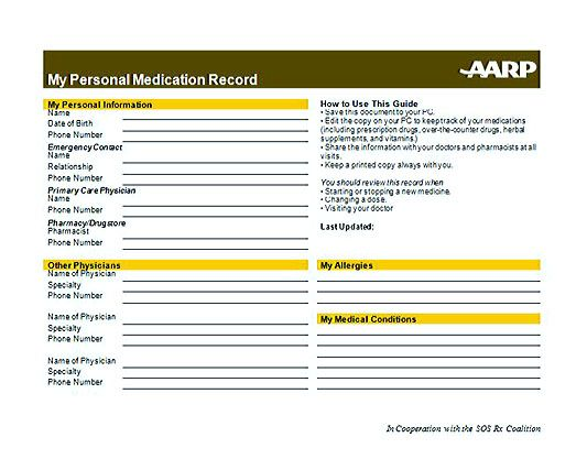 Medication List Template for Better Health and Medical Record - name and phone number template