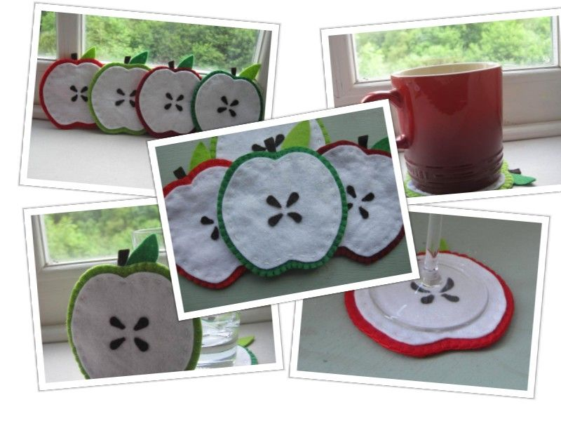 Set of 4 Felt Apple Drinks Coasters - available at www.gracesfavours.co.uk
