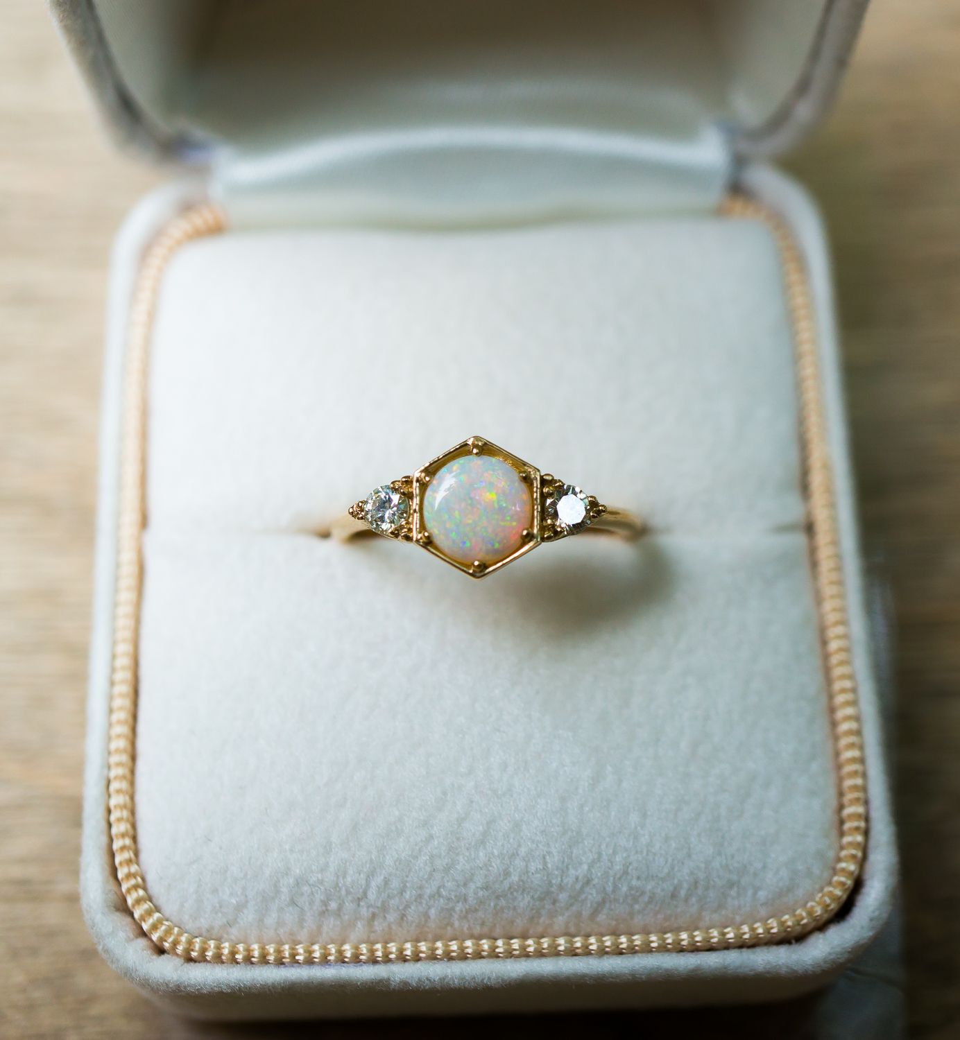 A Bespoke Opal Engagement Ring By S Kind & Co With Vintage Diamonds And