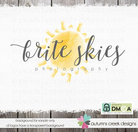 Photography Logo Watercolor Logo Sun Logo Photography Logo With Sun Watermark Design Photographer Logo Sunshine Logo Sun Logo Logotip Solnce Tvorchestvo