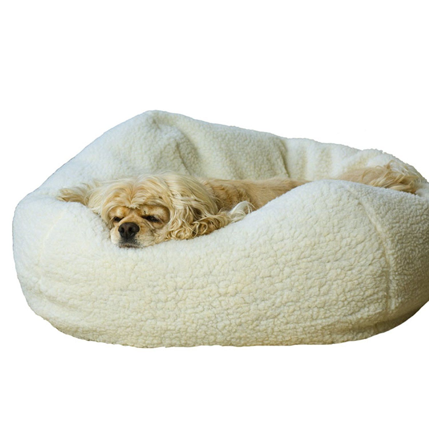 Carolina Pet Company White Sherpa Puff Ball Dog Bed