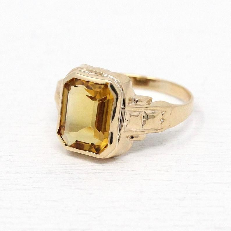 Genuine Citrine Ring Art Deco 10k Gold 2 11 Ct Gemstone Etsy Genuine Citrine Citrine Ring Citrine Gemstone