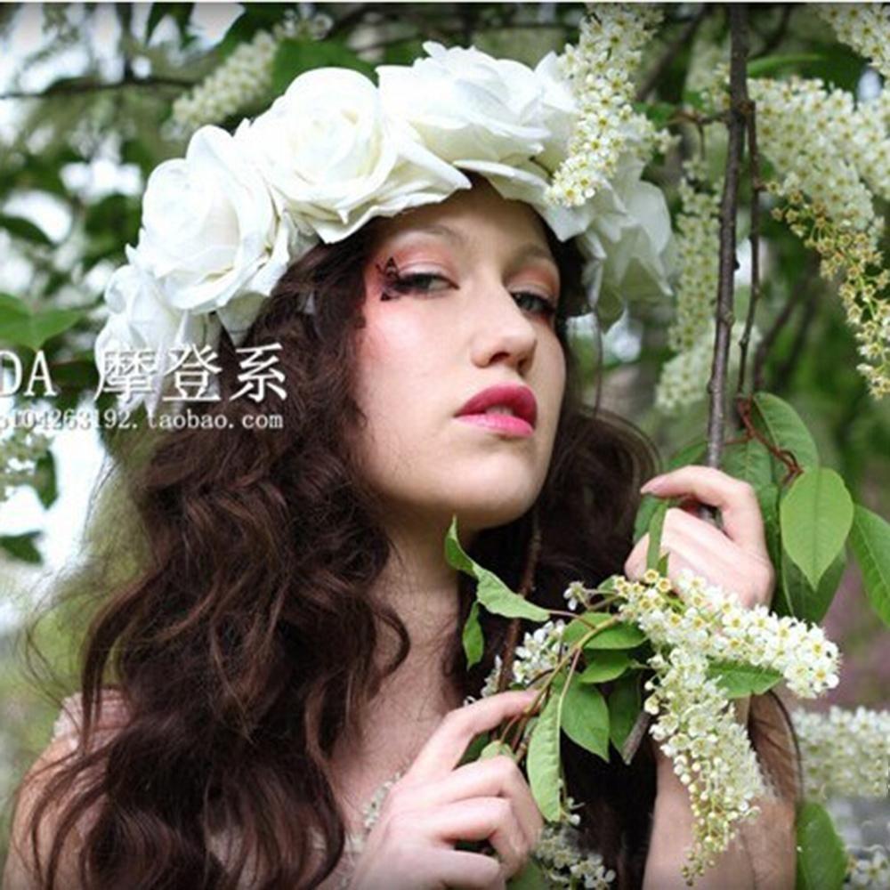 Rose Floral Flower Garland Crown Headband Hair Band Festival Bridal