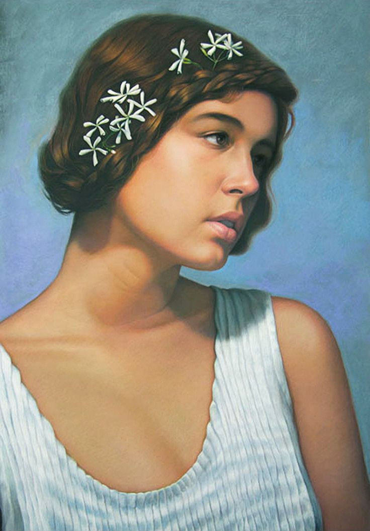 """""""Jasmine"""" - Cuong Nguyen, pastel on paper {contemporary figurative realism artist female head profile woman face portrait drawing #loveart} <3 icuong.com"""