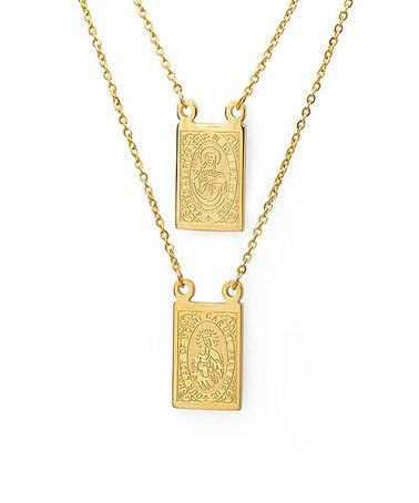 Zulily Scapular Necklace Jewelry Gold Plated Necklace