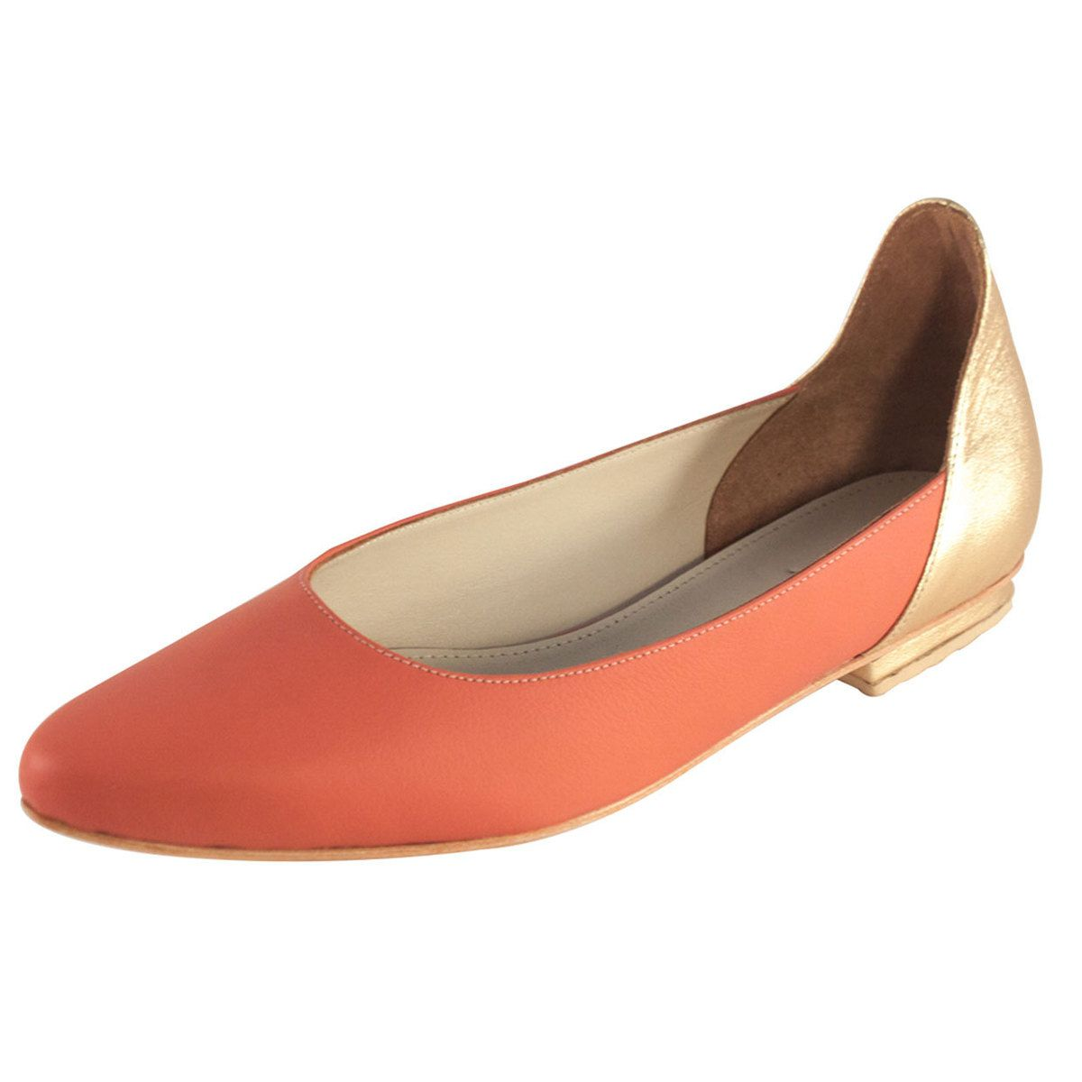 fab atlanta flat leather coral shoes
