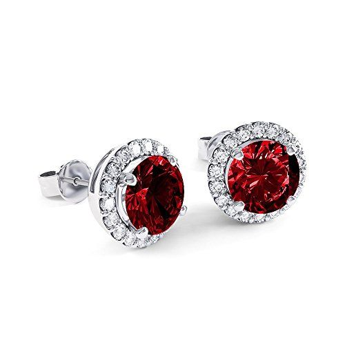 Stardust 2 7ct Ruby And Diamond Halo Silver Stud Earrings White Gold Uk