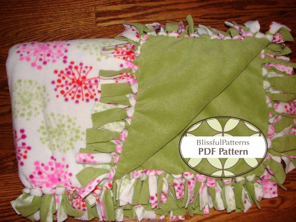 Easy Tie One Hour Fleece Blanket Pdf Pattern No Sewing Free