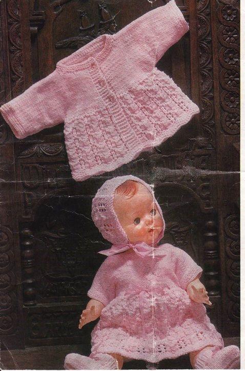 Vintage britische Strickmuster für Puppe/baby Enthält Jacke/Cardigan ...