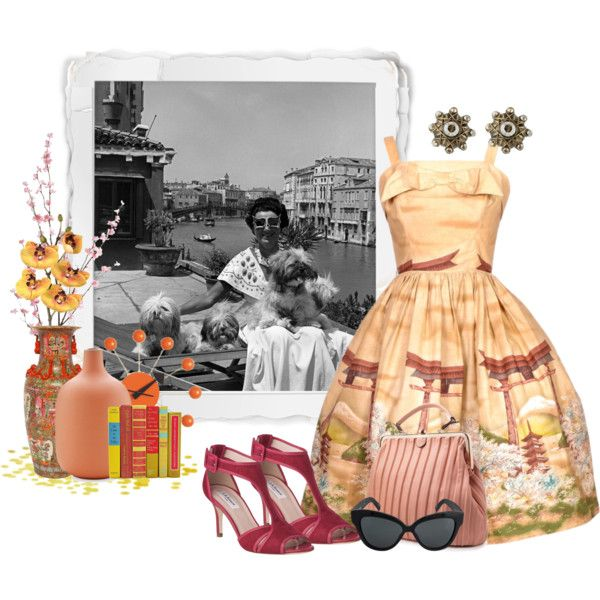"1950's Era ""Holiday Dress"" by debpat on Polyvore featuring L.K.Bennett, Konplott, Linda Farrow, Heath Ceramics, Pier 1 Imports, Vitra, Pavilion Broadway and vintage"