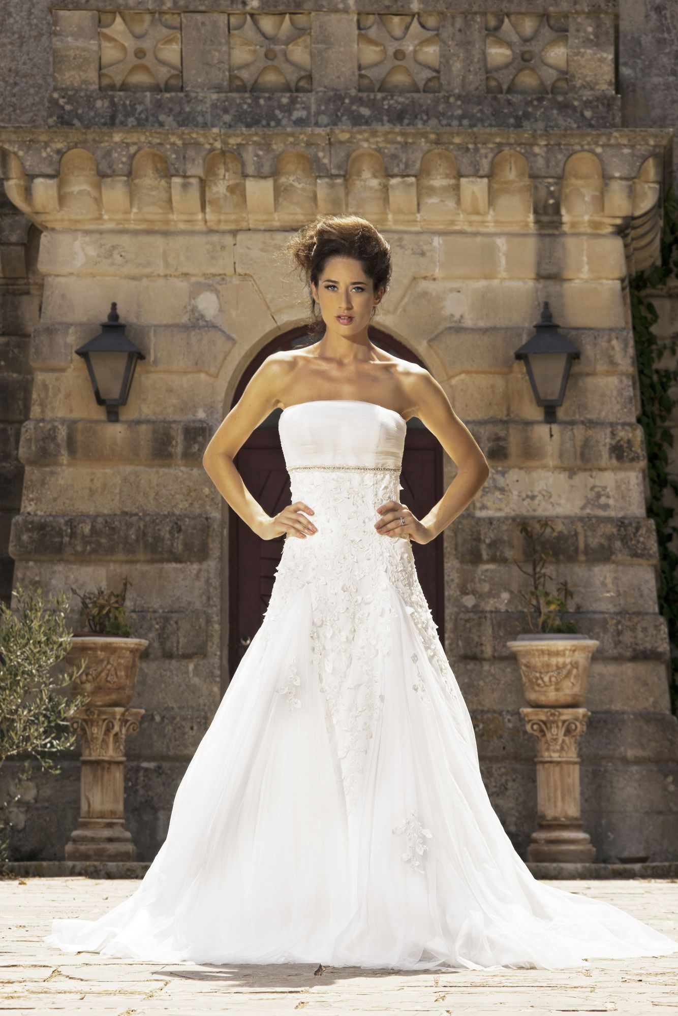 Regina Strapless ruched tulle bodice with diamond belt