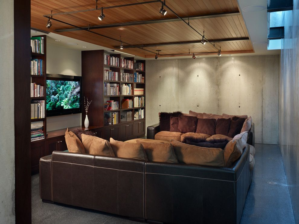 exclusive design contemporary track lighting. Industrial Track Lighting Home Theater with Black Floor  Terrazzo
