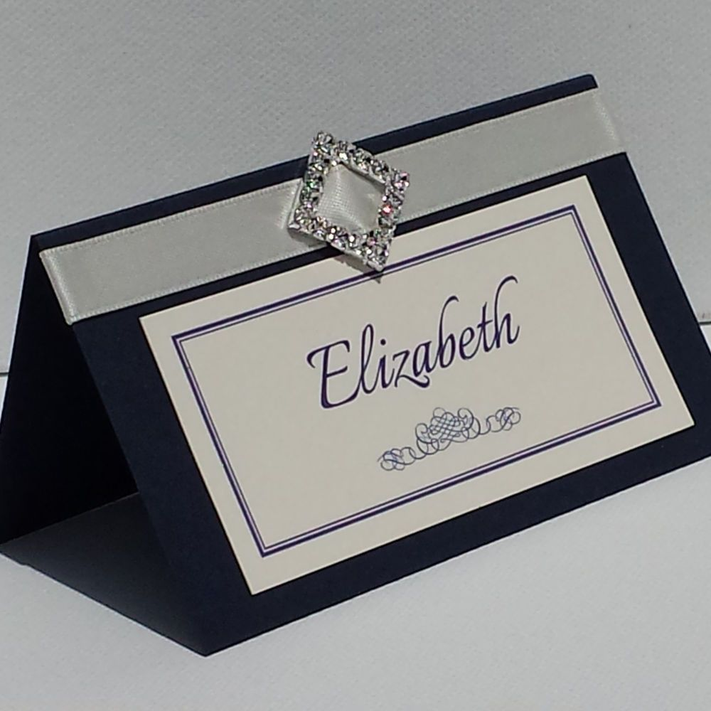 10 NAME PLACE CARDS PERSONALISED Wedding Reception Diamante Ribbon Navy Ivory In Cards Invitations